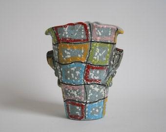 Fratelli Fanciullacci Italian vintage multi colored vase