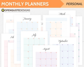 Printable Monthly Planner, Personal Filofax Personal Planner Inserts, Personal Inserts, Monthly Calendar, Month on Two Pages