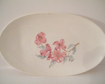Steubenville Serving Tray, vintage  Platter with Pink Floral designed by Russel Wright, collectible, shabby cottage  kitchen