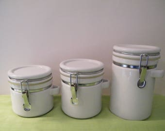 SALE White Storage Jar Canisters,  Setof 3 bale jar style closure on 5 inch, 6 inch and 8 inch tall heavy containers, vintage modern decor,