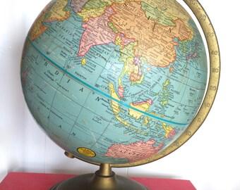 USSR Globe Antique Globe George F. Cram 9 inch Terrestrial Globe C-1066 No.90 Late 1940s World Globe features U.S.S.R., Manchuria & Mongolia