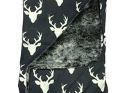 DEER CARSEAT CANOPY Boy's Carseat Canopy Tent Cover Gray Faux Fur Rustic Buck Baby Shower Gift BizyBelle