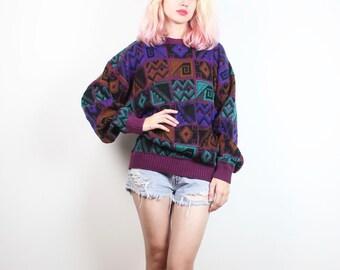 Vintage 90s Sweater Pink Black Mustard Purple Green Boyfriend Sweater 1990s Sweater Abstract Print Geometric Knit Soft Grunge Jumper L XL