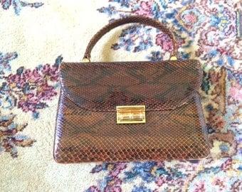 vintage flap top handle python snake skin leather brown bag
