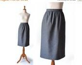 SALE - Dark Grey Skirt  80s Wool Skirt / Grey Wool Skirt / medium / High Waist Skirt / Peabody Skirt / Women Bottom Skirt / Vintage Clothing