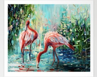 Flamingo painting, flamingo prints, tropical art,abstract art, flamingo print,  flamingo, flamingo wall decor, flamingo gift, flamingo gifts