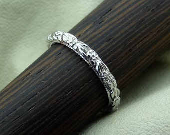 Platinum Flower Style Carved and Milgrain 2mm Thin Wedding Band
