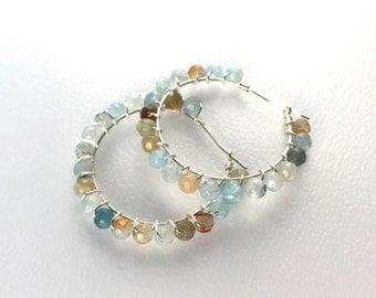 Aquamarine Wire Wrapped Earrings / Blue / Green / Hoop Earrings / Silver