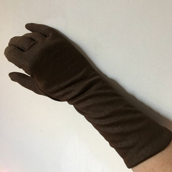 Dark brown gloves long nylon thick fleece lined winter forearm length sparkle sheen Mod 1960s Mad Men 1950s size 7 warm smart