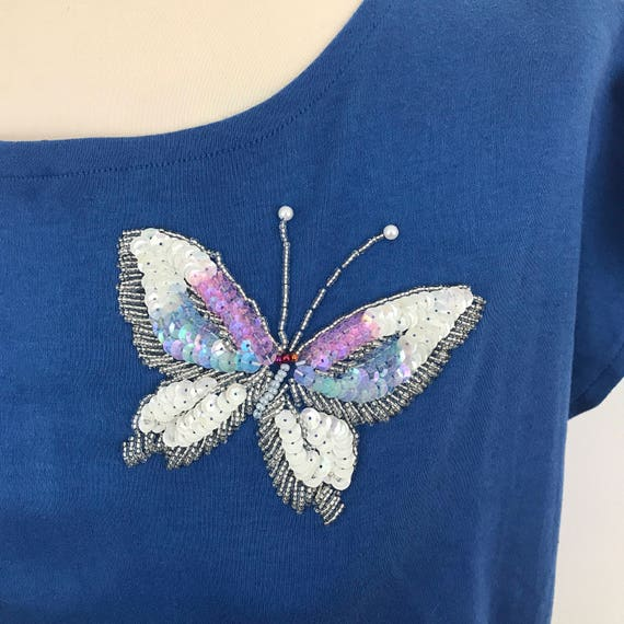 Vintage tee 1980s t shirt beaded butterfly blue top 80s nu wave sparkly UK 10 glam