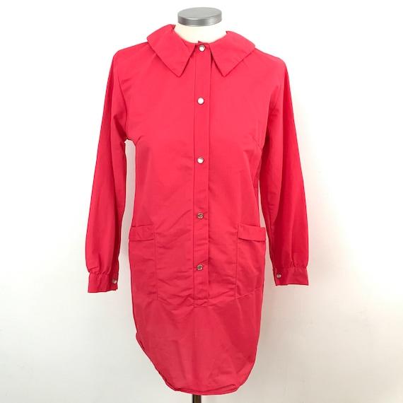 vintage 1960s nylon coat dress in hot coral pink