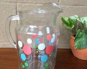 "Retro 70's Glass Pitcher with Rainbow Bubble Design, 10""H"