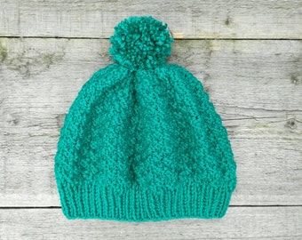 Green women's beanie with pompom hand knitted - Petrol green , women's hat , green hat , pompom hat