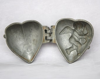 Vintage Heart Mold - Cupid Mold - Vintage Ice Cream Mold - Valentine's Day Decorations - Cupid Decorations - Antique Pewter Ice Cream Mold
