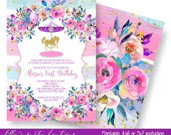Carousel Birthday Invitation, Carousel First Birthday, Waterolor, Floral, Merry Go Round, Glitter, Pink Purple and Blue, - YOU PRINT