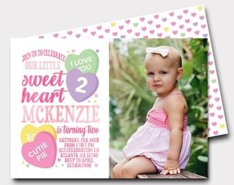 Sweetheart Birthday Invitation | Valentine Birthday Invitation | Heart Birthday Invitation | Sweet Celebration | Candy Birthday Invitation