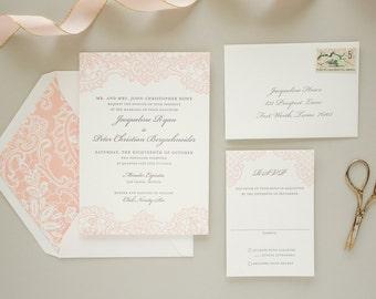 Romantic Wedding Invitation with Letterpress Lace, Vintage Lace Invitation, Pink Invitations, Elegant Wedding Invite SAMPLE | Hope