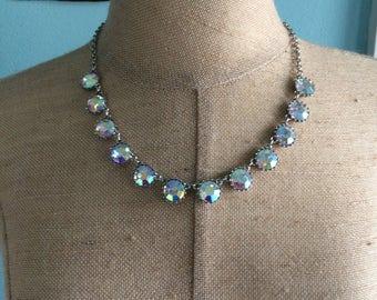 Light Blue Large AB Rhinestone Silver Tone Necklace