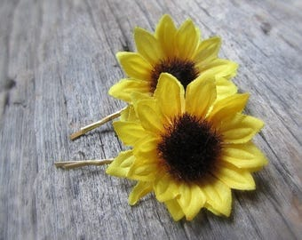 Sunflower Hair Pins, Sunflower Bobby Pins, Silk Flower Hair Pins, Floral Hair Pins, Flower Bobby Pins, Wedding Bridal Prom Hair Accessories