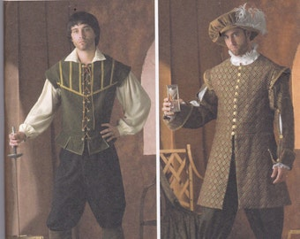 Simplicity 4059 Costume Pattern Mens Renaissance Costume SIze X Sm, Sm, Med, Lg, X Lg UNCUT
