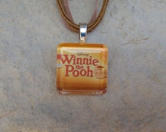 Broadway Musical Winnie the Pooh Kids or Winnie the Pooh Christmas Glass Pendant and Ribbon Necklace