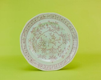 8 Vintage Rustic Calyx Ware Pottery Adams Serving DINNER PLATES Traditional Red Table Retro Service 1930s English LS