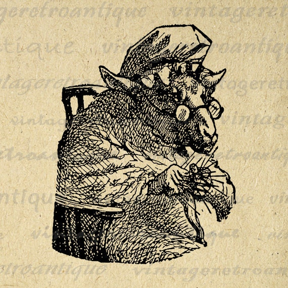 Vintage Knitting Clipart : Alice in wonderland knitting sheep image digital download