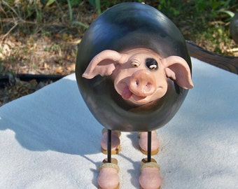 Unique Pig Figurine / Chalkboard