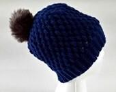 Bobble hat, faux fur pom pom, slouchy beanie, crochet beanie, faux mink pompom, hat with pom pom, beanie with pom pom, puff stitch beanie
