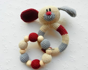 Crochet baby toy SET of 2 Teething baby toy Grasping and Teething Toys Dog Stuffed toys Gift for baby Christmas grift baby