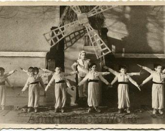 Windmill children theater performance antique photo