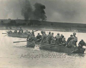 Soviet Red Army soldiers training exercises river vintage art photo Miroshnikov