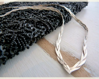 POINTED / V-shaped sterling silver necklace from ITALY, BRAIDED meshes