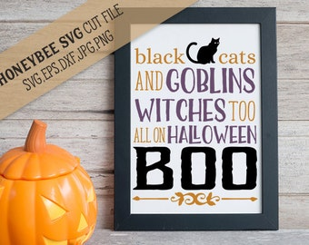 Black Cats and Goblins svg Halloween svg Halloween decor svg Spooky decor svg Spooky svg Witches svg Goblins svg Silhouette Cricut svg