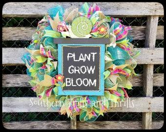 Garden Wreath, Flower Wreath, Summer Wreath, Welcome Wreath, Everyday Wreath, Mesh Wreath, Front Door Wreath, Outdoor Wreath, Deco Mesh