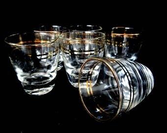 Set of 6 Shot Glasses, Gold Rimmed Shots, Heavy Shot Glasses, Gold Rimmed Barware, Housewarming Gift, Made in Germany