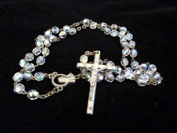 Vintage Rosary, Italian Vintage Rosary, Aurora Borealis, Crystal Catholic Rosary, Catholic Communion Confirmation Gift, Made in Italy