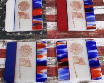 Fused Patriotic Fireworks Glass Coasters - Set of Four