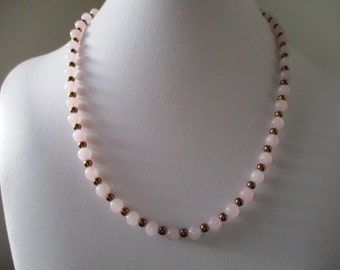 Rose Quartz and Hematine Necklace