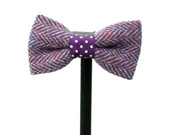 Purple Harris Tweed Herringbone Bow Tie / Wool / Groom / Wedding/ Wool Bow Tie
