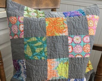 Quilted cushion cover, modern pillow cover, Kaffe Fasset fabric, Mother's Day gift, made in Canada