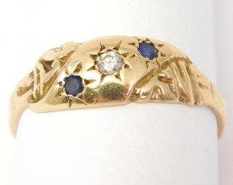 14K Victorian Diamond And Sapphire Band Ring