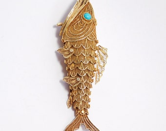 Large Silver Articulated Chinese Fish Pendant Turquoise Eyes