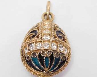 Russian Silver Enamel Egg Pendant Charm Beautiful Vermeil