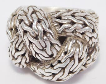 John Hardy Braided Silver Knot Ring Sterling Signed
