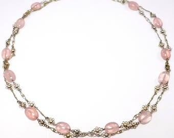 Long Art Deco Rose Quartz And Filigree Chain Necklace Vermeil