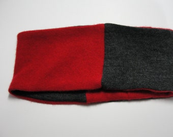 Upcycled Red and Gray Cashmere Earwarmer Headband