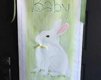 Hand painted, personalized nursery banner.