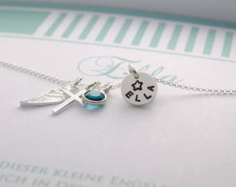 Christening necklace with engraving, cross, wings, birthstone, christening jewelry with gift box