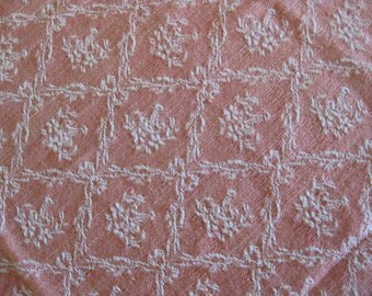 pink French mattress ticking fabric - pink damask French toile de matelas with trellis pattern